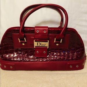 Red Alligator (faux) Small Hand Bag